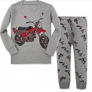 """Детская пижама (лонгслив + брюки) с принтом """"Мотоцикл"""", цвет серый"""