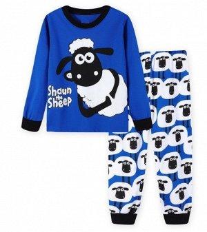 """Детская пижама (лонгслив + брюки) с принтом """"Барашек"""", цвет синий"""