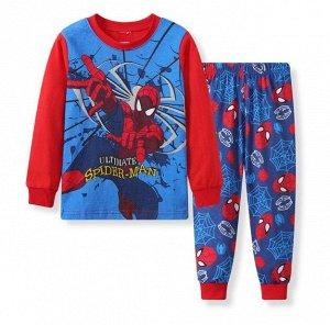 Детская пижама (лонгслив + брюки) с принтом, цвет синий/красный