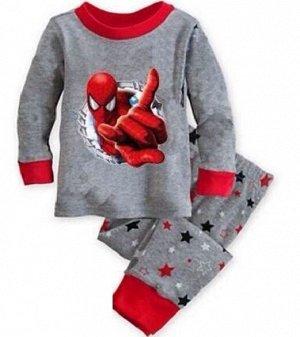 Детская пижама (лонгслив + брюки) с принтом, цвет серый/красный