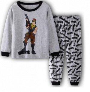 Детская пижама (лонгслив + брюки) с принтом, цвет серый