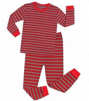 Детская пижама (лонгслив + брюки) в полоску, цвет красный/серый