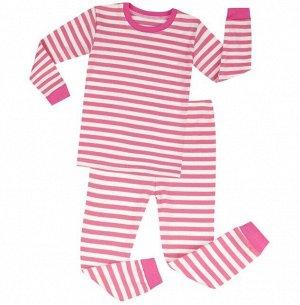 Детская пижама (лонгслив + брюки) в полоску, цвет розовый/белый