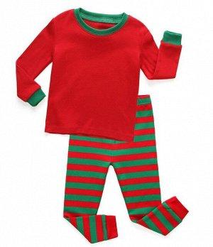 Детская пижама (лонгслив + брюки) в полоску, цвет красный/зеленый