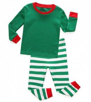 Детская пижама (лонгслив + брюки) в полоску, цвет зеленый
