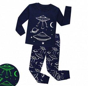 """Детская пижама, принт """"НЛО"""", цвет темно-синий"""