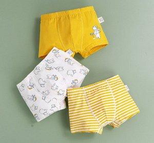 """Боксеры для мальчика, принты """"Медведи/полоски"""", набор из 3 штук, цвет желтый/белый"""