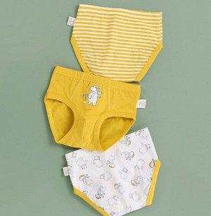 """Трусы для мальчика, принты """"Медведи/полосы"""", набор из 3 штук, цвет желтый/белый"""
