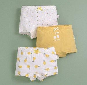 """Трусы-шортики для девочки, принты """"Ананасы/горох/вишня"""", набор из 3 штук, цвет белый/желтый"""