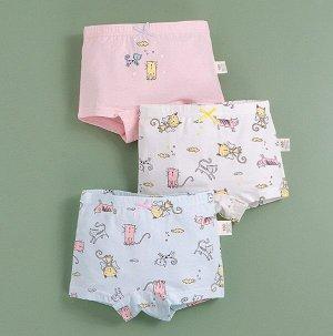 """Трусы-шортики для девочки, принты """"Котики"""", набор из 3 штук, цвет белый/розовый"""