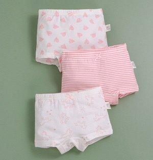 """Трусы-шортики для девочки, принты """"Сердечки/полоски/единороги"""", набор из 3 штук, цвет белый/розовый"""