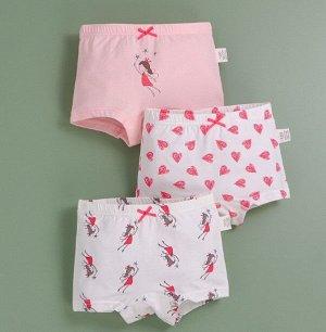 """Трусы-шортики для девочки, принты """"Феи/сердечки"""", набор из 3 штук, цвет белый/розовый"""
