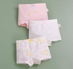 """Трусы-шортики для девочки, принты """"Единороги"""", набор из 3 штук, цвет белый/розовый"""