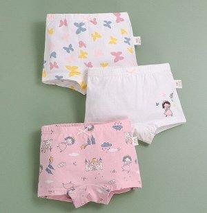 """Трусы-шортики для девочки, принты """"Бабочки/феи/замок"""", набор из 3 штук, цвет белый/розовый"""