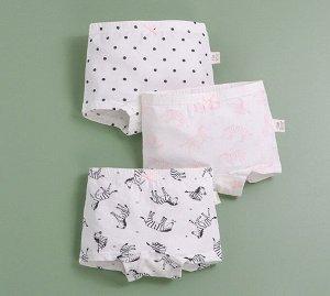 """Трусы-шортики для девочки, принты """"Зебры"""", набор из 3 штук, цвет белый"""