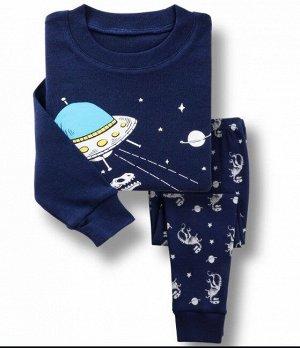 """Детская пижама, принт """"НЛО"""", цвет синий"""
