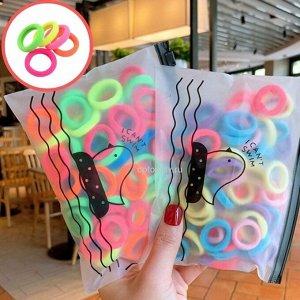 """Набор резинок """"Пикси"""" 100 штук, бесшовные, разноцветные, диам. 2,5 см, в косметичке, цвета в ассортименте"""