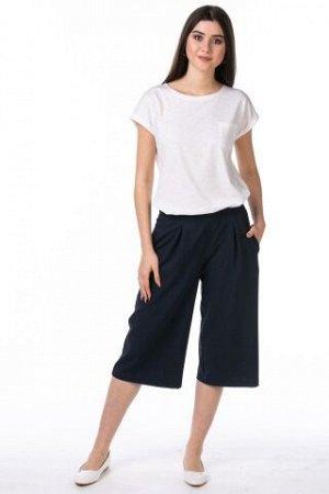 Кюлоты лен 35%, полиэстер 65% синий, джинса, кофе, серый