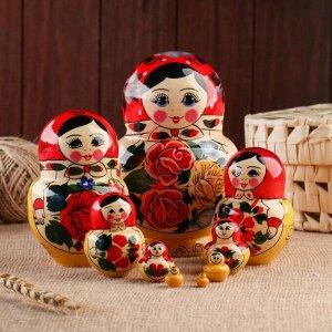 Матрёшка «Семёновская», красный платок, 10 кукольная, 16-17 см, ручная работа