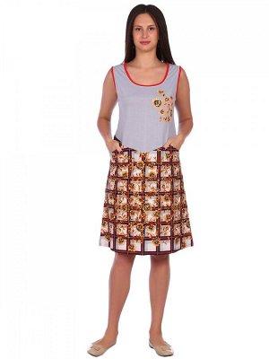 Сарафан Хлопок 100% Описание: Сарафан женский комбинированный из кулирки. Рост модели 175см.