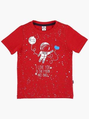Футболка с космонавтом (80-92см) UD 0787(3)красный