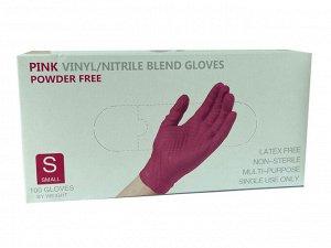 Перчатки Wally Plastic винил/нитриловые одноразовые, нестерильные, неопудренные, цвет розовый, размер S, 50 пар/упак., Китай