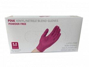 Перчатки Wally Plastic винил/нитриловые одноразовые, нестерильные, неопудренные, цвет розовый, размер M, 50 пар/упак., Китай