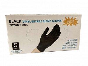 Перчатки Wally Plastic винил/нитриловые одноразовые, нестерильные, неопудренные, цвет черный, размер S, 50 пар/упак., Китай