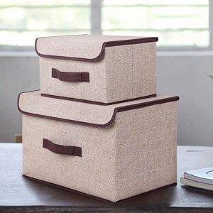Ящик для хранения, бежевый,  38х25х25см, 27х20х16см
