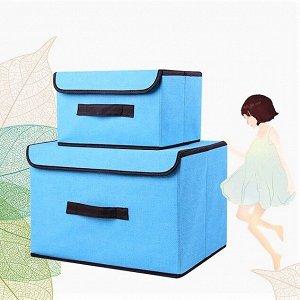 Ящик для хранения, голубой,  38х25х25см, 27х20х16см