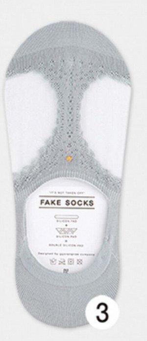 Enjoy The Socks Style GGORANGNAE Носочки женские короткие СЕРЫЕ узор двойной силиконовый фиксатор пятки, 1 пара (35-38р)