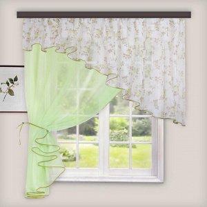 Комплект штор для кухни Лира св. зеленый лев
