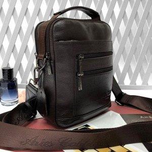 Мужская сумка Oux из качественной натуральной кожи с ремнем через плечо кофейного цвета.