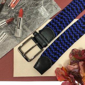 Плетеный ремень-резинка Elee комбинированного сине-чёрного цвета, длина 99 см.