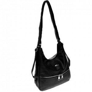 Функциональная сумка-рюкзак Malekula из качественной матовой эко-кожи чёрного цвета.