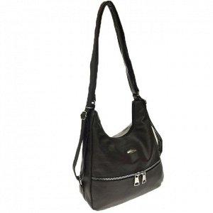 Функциональная сумка-рюкзак Malekula из качественной матовой эко-кожи кофейного цвета.