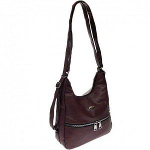 Функциональная сумка-рюкзак Malekula из качественной матовой эко-кожи цвета кармин.