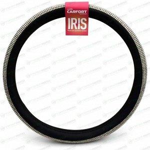 Оплетка на руль CARFORT Iris 12, черная кожа, темные кристаллы, размер M (37-39см)