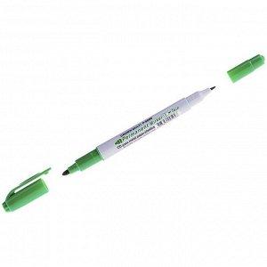 "Маркер перманентный двухсторонний Crown ""Multi Marker Twin"" зеленый, пулевидный, 2мм/1мм"