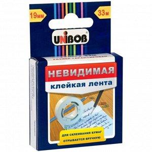 Клейкая лента 19мм*33м, Unibob, невидимая, матовая, картонная упаковка, европодвес