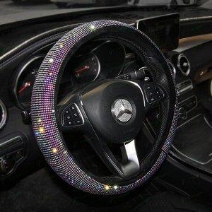 Оплетка на руль CARFORT Iris 16, цветные зеркальные кристаллы, размер M (37-39см)