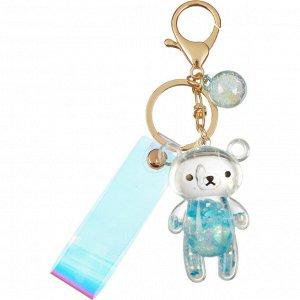 Брелок Мишка стекло голубой 6x4 см