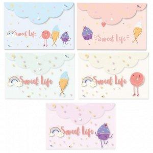 Папка-конверт на кнопке Att-he Sel-on SWEET LIFE А5асс262х180мм20...