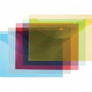Папка-конверт на кнопке А4 Attache цвет в ассортименте 120 мкм 10...