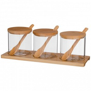 """Набор емкости для сыпучих  agness """"native"""", 10 предметов, диаметр  8 см, высота 8 см боросиликатное"""