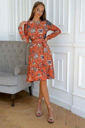 Платье Эффектное горчичное платье смотрится стильно,элегантно, просто, но роскошно У модели втачной пояс со слегка расклешенной юбкой . Яркие ляпистые цветочки будут только притягивать взгляды окружаю