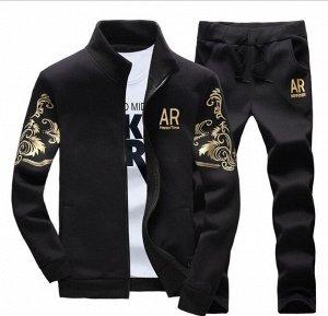 """Мужской спортивный костюм, принт """"AR"""", с завитушками на рукавах, цвет черный"""