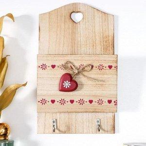 "Крючки декоративные дерево с карманом ""Ленты из сердец"" 26х15,2х5 см 6301252"