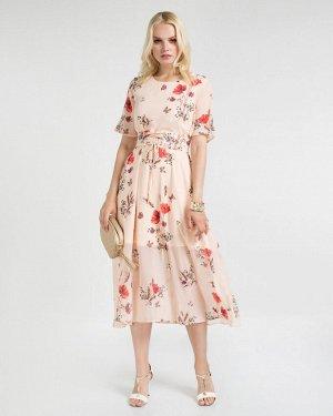 Платье жен. (001473)розово-красный