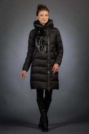 Женская куртка зимняя 066 черный натуральный мех